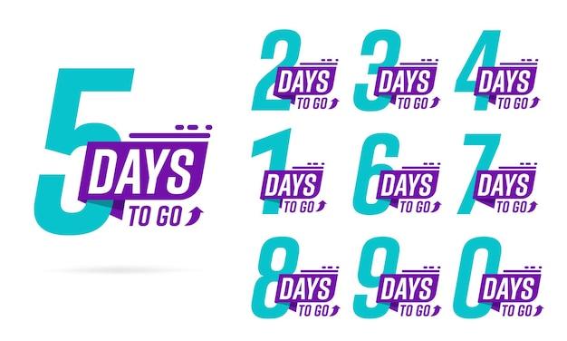 Verbleibende zeit in tagen, countdown-motivation und inspirationsetiketten-layout-set