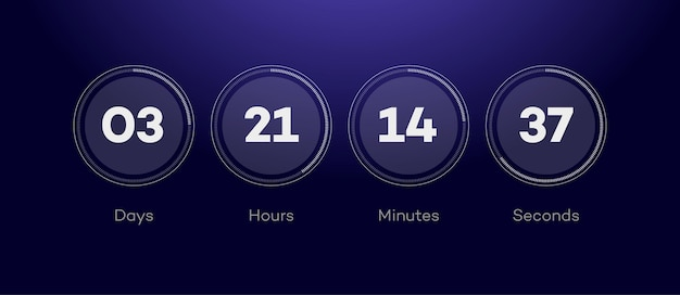 Verbleibende zeit mit kreis countdown von tagen stunden minuten sekunden webseite bevorstehendes ereignis ui app