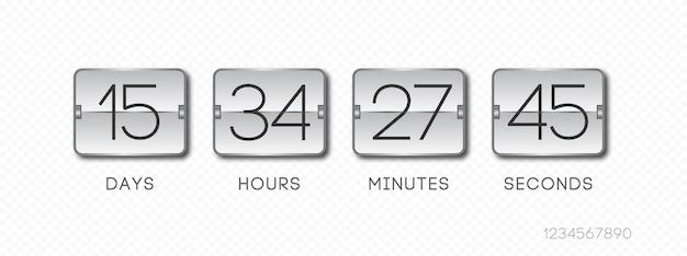 Verbleibende zeit vorlage realistischer stil isoliert auf transparentem hintergrund countdown verkauf timer flip timer