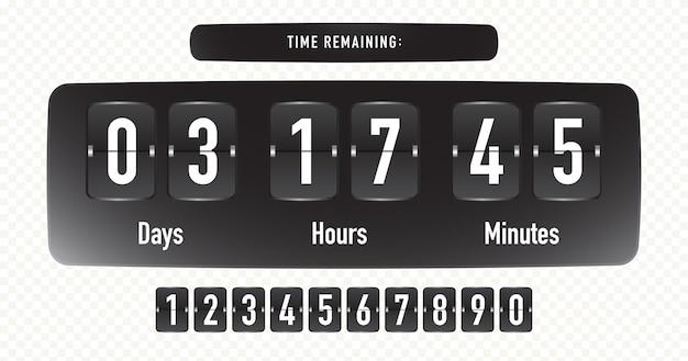 Verbleibende zeit vorlage vektor realistischen stil isoliert auf transparentem hintergrund countdown-verkauf