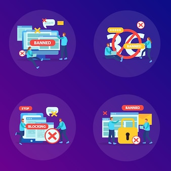 Verbot missbräuchlicher inhaltswebsites instant messaging-benutzer geräte internet-blockierungskonzept 4 flache kompositionen quadratische illustration, Kostenlosen Vektoren