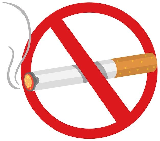 Verboten keine tabak- oder zigarettenverbrennungen isoliert auf weißem hintergrund