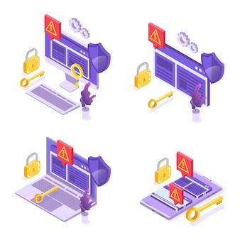 Verbotene internetinhalte, internet-blockierungskonzept. werbeblocker-software. vektor-illustration