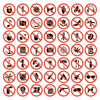 Verbotene symbole. verbot von roten symbolen, keine motorradtiere, waffen, tontelefone, die auto-vektor-set parken. abbildung verboten große sammlung, verboten und eingeschränkt