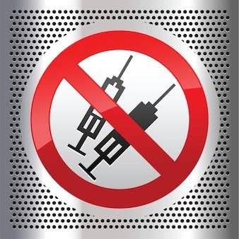 Verbotenes zeichen mit spritzensymbol