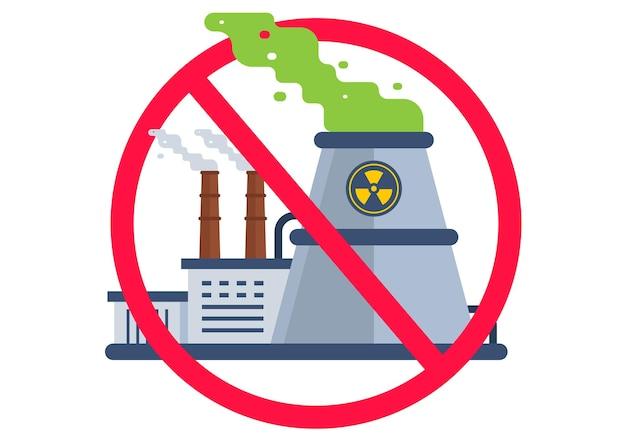 Verbotenes zeichen von atomkraftwerken. flache vektorillustration