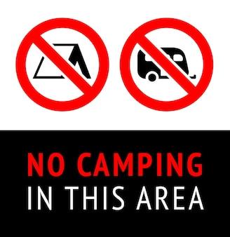 Verbotsschild no camping, no parking, schwarzes verbotenes symbol in roter runder form Premium Vektoren