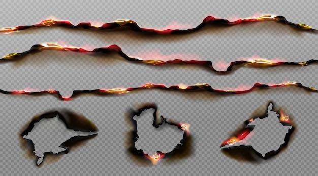 Verbrannte papierkanten mit feuer und schwarzer asche