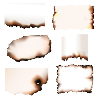 Verbranntes papier mit brennenden kanten, eingestellt. verbranntes papier zerfetzt mit feuer, isoliertes realistisches design, altes pergament oder papierblätter mit zerrissenen rändern