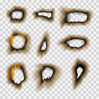 Verbranntes stück verbrannt verblasstes papierloch realistische feuerflamme isoliert seitenblatt zerrissene asche vektor-illustration