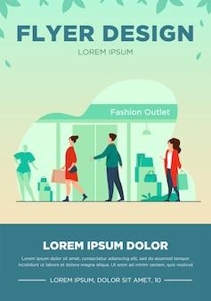 Verbraucher, die entlang der straße nahe der flachen vektorillustration des bekleidungsgeschäfts gehen. schaufensterpuppen in schaufenstern einkaufen. fashion outlet, konsum und boutique mall konzept