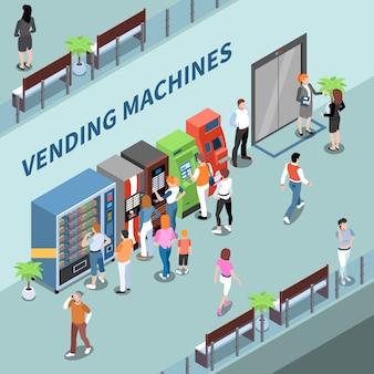 Verbraucher in der nähe von verkaufsautomaten in der lobby der isometrischen zusammensetzungsvektorillustration des geschäftszentrums