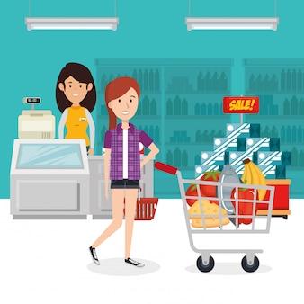Verbraucher mit einkaufswagen von lebensmitteln