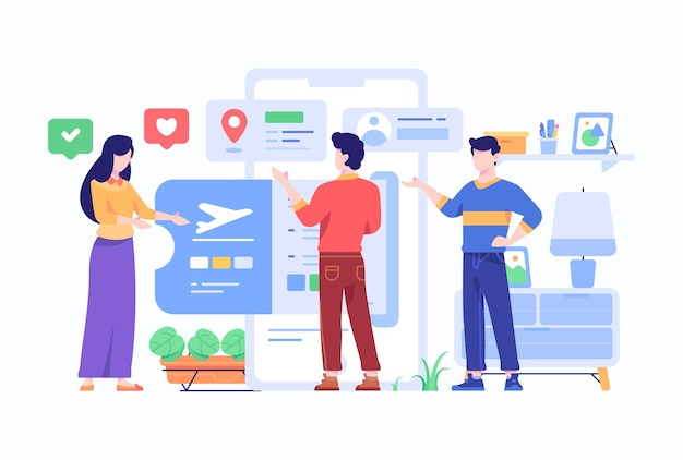 Verbraucher wählen reiseflugticket, das von airlines e-commerce marketplace-anwendungskonzept angeboten wird