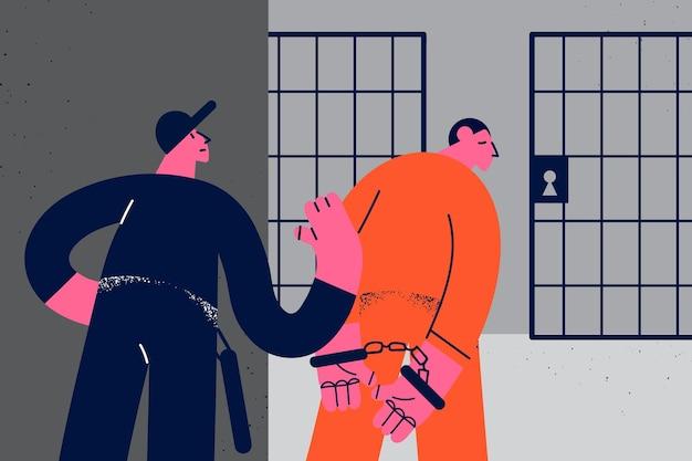 Verbrechen, bestrafung und gefängniskonzept. mann gefängnisangestellter, der jungen mann kriminellen in orangefarbener uniform in gefängnis-gefängnis-kamera-vektor-illustration steckt