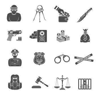Verbrechen und bestrafung icons set