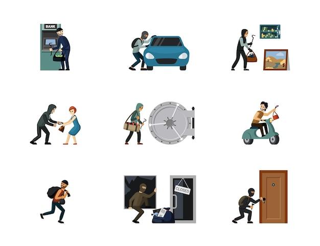 Verbrechen von banditen und räubern begangen. einbruch in geldautomaten und autoangriff auf frauendiebstahl in banken und wohnungen illegale aktionen mit bedrohung von menschenleben. vektorgefährliches element.