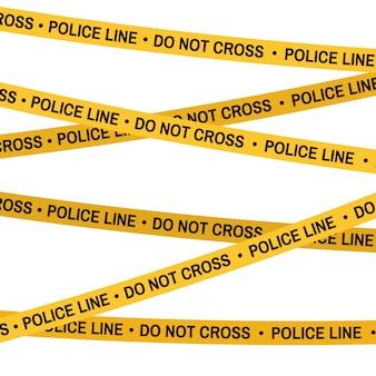Verbrechenszene gelbes band, polizeilinie kreuzen sie nicht. flache karikatur. vektor weißer hintergrund.
