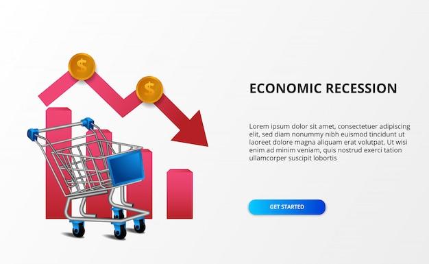Verbreiten sie die auswirkungen auf die wirtschaft und die rezession. abwärtstrend-geschäftsmarkt. illustration des 3d-wagens mit bärischem pfeil. landing page economy depression