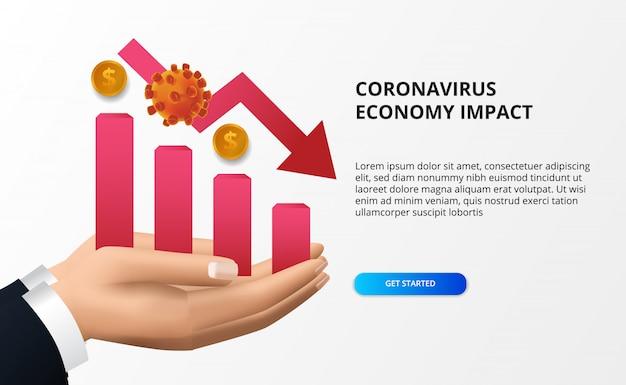 Verbreiten sie die auswirkungen der coronavirus-wirtschaft. wirtschaft runter und fallen. hit aktienmarkt und weltwirtschaft. rote grafik und rotes bärisches pfeilkonzept