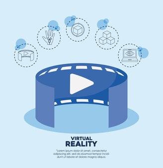 Verbundene ikonen des videos 3d und der virtuellen realität