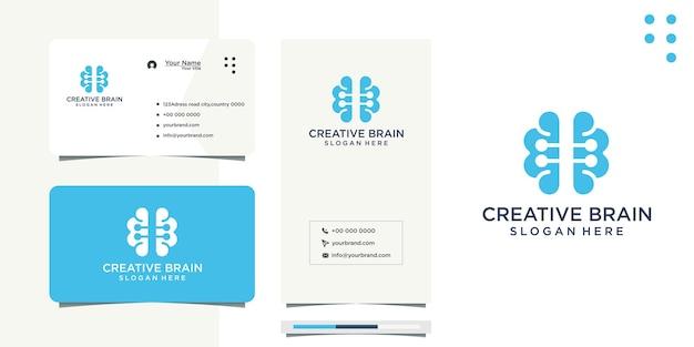 Verbundene punkte gehirn ideen design und visitenkarte