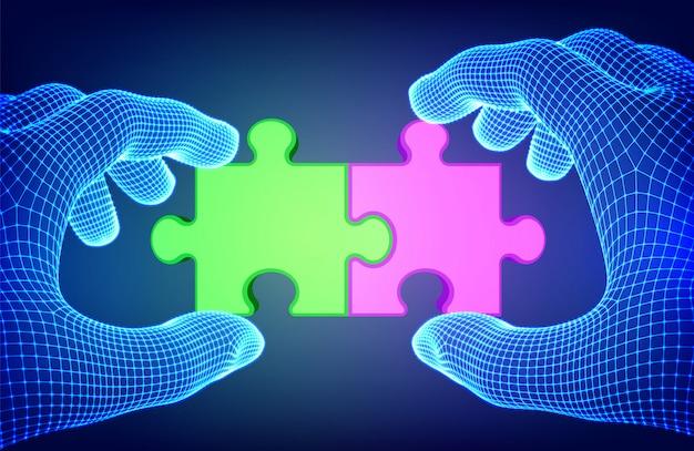 Verbundene rote und grüne puzzleteile in drahtgitterhänden. puzzleteile als symbol für assoziation und verbindung. teamwork-konzept.