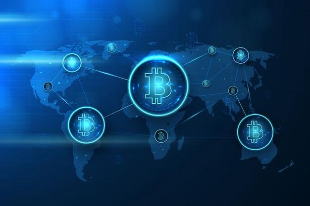 Verbundener bitcoin-kartenhintergrund