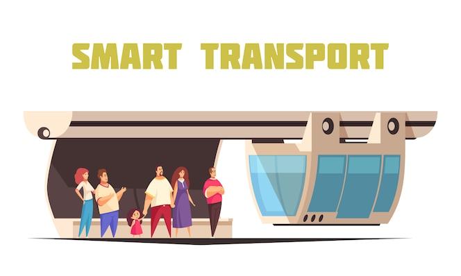 Verbundener transport in der flachen karikaturzusammensetzung der intelligenten stadt mit leuten, die auf hängendes einschienenbahnauto warten