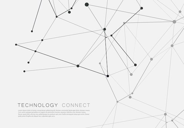 Verbundenes abstraktes muster mit punkten auf überschneidungslinien technologiehintergrund