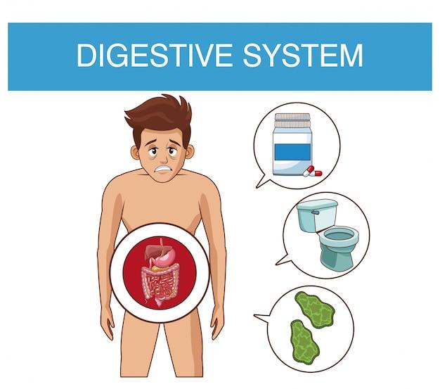Verdauungssystem und junger mann