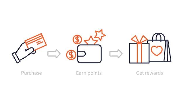 Verdiene punkte. vorteilsprogramm, einkaufsbelohnung und bonus. kunden verdienen geschenke, marketing-loyalitätssystem. geschäftsikonen-konzept. programmbonus, geld sammeln und treuevorteil illustrieren