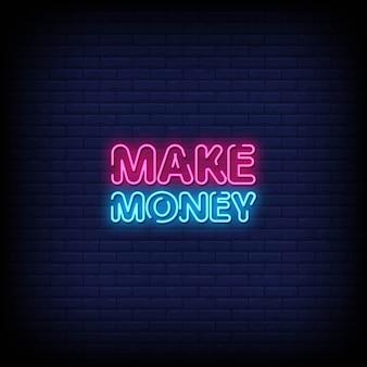 Verdienen sie geld neon signs style text
