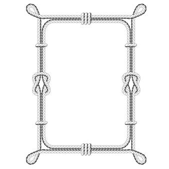Verdrehte quadratische seilrahmen mit knoten und schlaufen