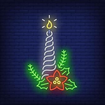 Verdrehte weihnachtskerze in der neonart