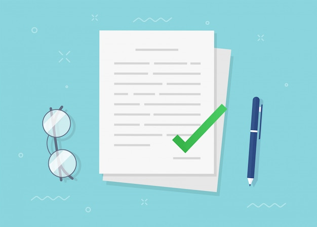 Vereinbarung vertragsdokument genehmigt und bestätigte datei mit häkchensymbol flachen vektor