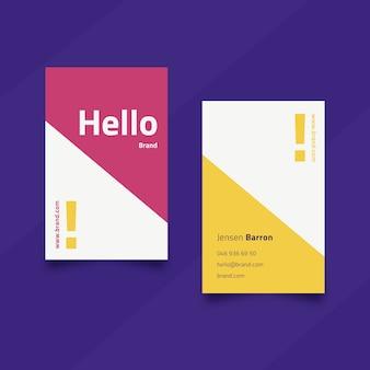 Vereinfachte vorlage für visitenkarte