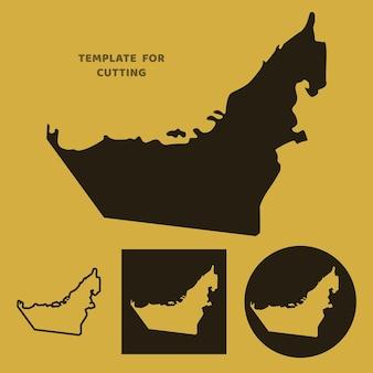 Vereinigte arabische emirate karte vorlage zum laserschneiden, holzschnitzen, scherenschnitt. silhouetten zum schneiden. vereinigte arabische emirate kartenvektorschablone.