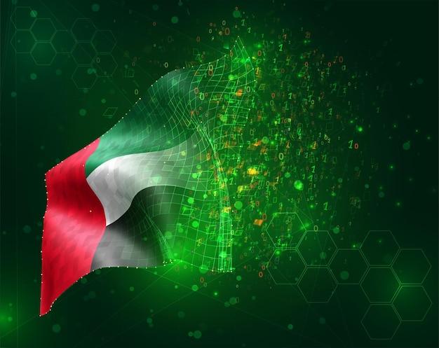 Vereinigte arabische emirate, vektor-3d-flagge auf grünem hintergrund mit polygonen und datennummern