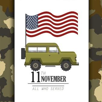 Vereinigte staaten kennzeichnen und militärisches auto