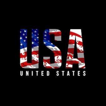 Vereinigte staaten mit flagge amerikanischer illustrationsdesignvektor
