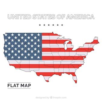 Vereinigte staaten von amerika flache karte