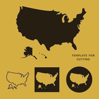 Vereinigte staaten von amerika karte vorlage für laserschneiden, holzschnitzen, scherenschnitt. silhouetten zum schneiden. usa-kartenvektorschablone.