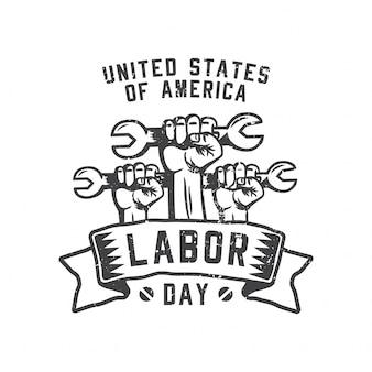 Vereinigte staaten von amerika labor day faust halten einen metallschlüssel