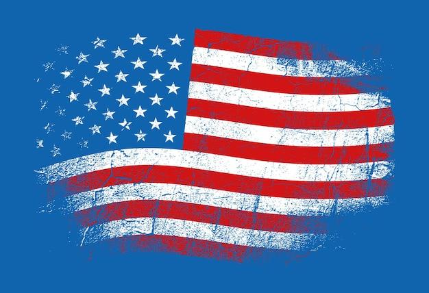 Vereinigte staaten von amerika-vektor-illustration im grunge-stil mit rissen und abschürfungen