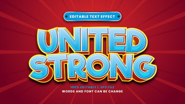 Vereinigter starker bearbeitbarer texteffekt im modernen 3d-stil