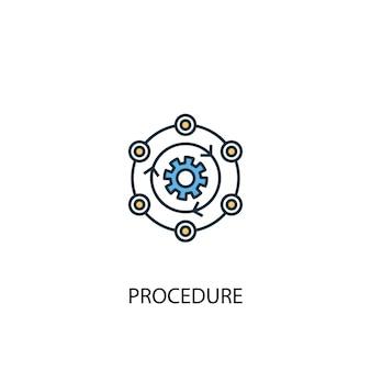 Verfahrenskonzept 2 farbiges liniensymbol. einfache gelbe und blaue elementillustration. verfahrenskonzept gliederung symboldesign