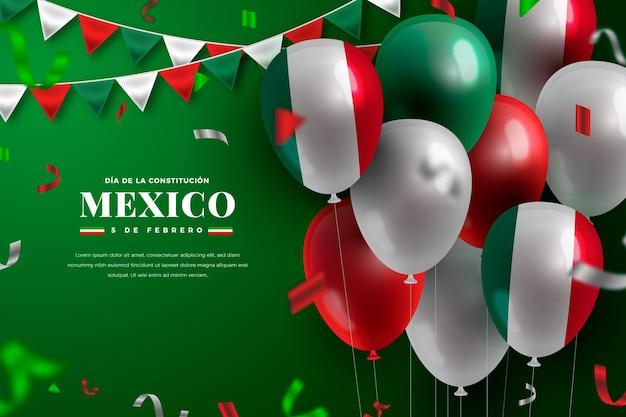 Verfassungstag mit realistischen luftballons