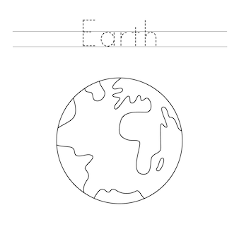 Verfolge das wort. farbe planet erde. handschriftpraxis für kinder im vorschulalter.