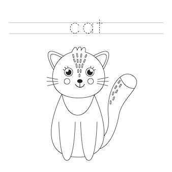 Verfolge das wort. nette karikaturkatze. handschriftpraxis für kinder im vorschulalter.